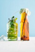 Lime vinegar and oil with oranges and spices