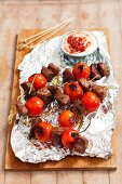 Grilled beef and cherry tomato skewers
