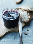 Blackcurrant jam with honey and fennel seeds