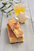 Slices of orange cake tied as a gift