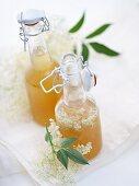 Bottles of elderflower syrup