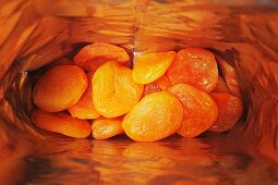 A bag of dried apricots (seen from above)