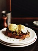 Mushrooms on toast with poached eggs and Hollandaise sauce