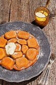 Tarte tatin with a potato and almond base