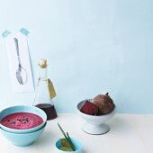 Beetroot soup with chives and bay leaves