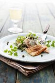 Cod fillet with tzatziki, capers and chervil