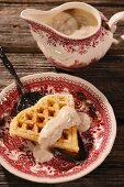 Yeast waffles with almond cream