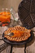Waffles with carrot and orange marmalade