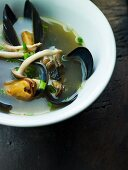 Mussel soup with mushrooms
