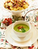 Pea soup with chanterelle mushrooms and bacon