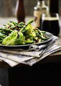 Green beans and cos lettuce with balsamic cream and pistachio nuts