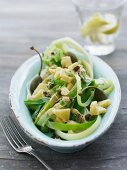 Leek salad with diced cheese capers