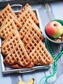 Heart-shaped apple and spelt waffles