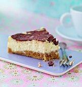 Cheese cake with a chocolate glaze