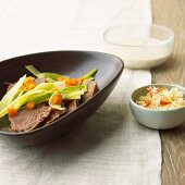 Prime boiled beef with apple and bread horseradish
