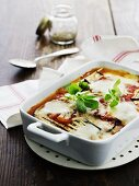 Gratinated aubergines with tomato sauce and Parmesan cheese