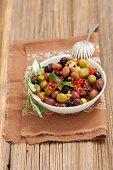Mixed marinated olives with garlic, , mustard and chilli
