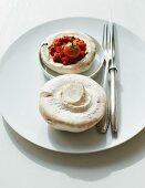 Stuffed mushrooms with tomato puree