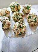 Cheese balls with chopped hazelnuts