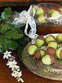 Marzipan acorns with chocolate glaze (Scandinavia)