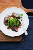 Lentil salad with goose liver and lamb's lettuce
