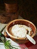 Bread dough in a terracotta bowl