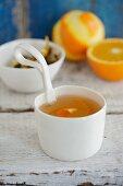 Winter tea with orange zest