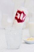 A push-up raspberry yoghurt ice cream