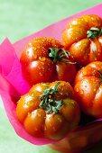 Freshly washed organic tomatoes