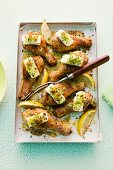 Chicken legs with herbs and feta