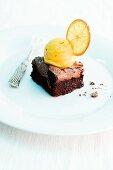 Orange and saffron sorbet with warm chocolate cake