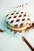 A creamy cheesecake decorated with a lattice pattern of cocoa and icing sugar