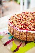 Macadamia nut cake with cherry sauce