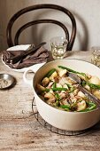 Chicken stew with potatoes, mushrooms and beans