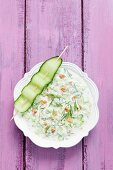 Cold cucumber soup with dill and nuts