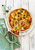 Garlic prawn and chorizo pizza