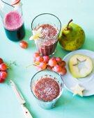 An elderberry smoothie with pears and grapes