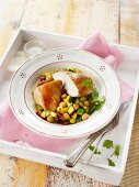 Chicken breast with a chickpea medley