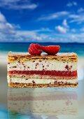 A slice of berry cake