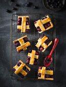 Blueberry and cherry lattice tart slices