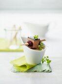 Bay bolete mushroom soup with goose liver pate