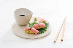Potato sushi with beef fillet