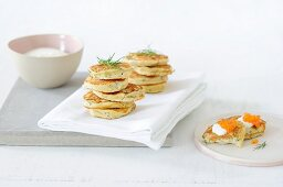 Potato cakes garnished with fennel leaves
