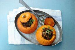 Stuffed mini pumpkins filled with minced meat