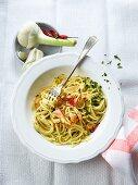Spaghetti aglio e olio (spaghetti, oil, garlic and chopped chilli)