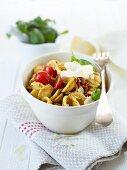 Orecchiette with basil and almond pesto
