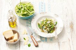Courgette strips with mint pesto, pine nuts and Parmesan