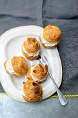Gougeres with hummus and nut cream