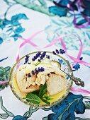 Liquorice ice cream with lavender flowers
