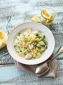 Cod fillet in lemon sauce with farfalle